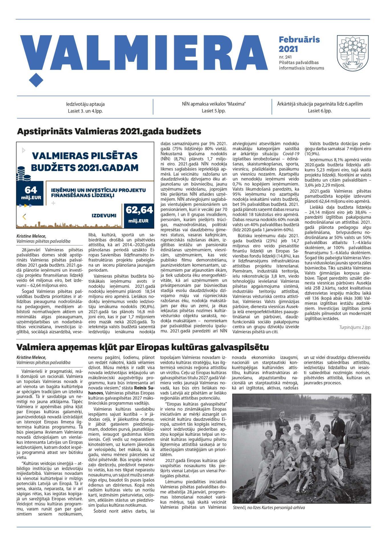 Valmieras pilsētas pašvaldības informatīvais izdevums februāris