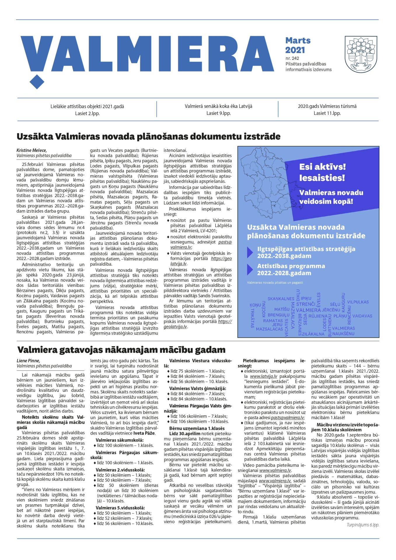 Valmieras pilsētas pašvaldības informatīvais izdevums Marts