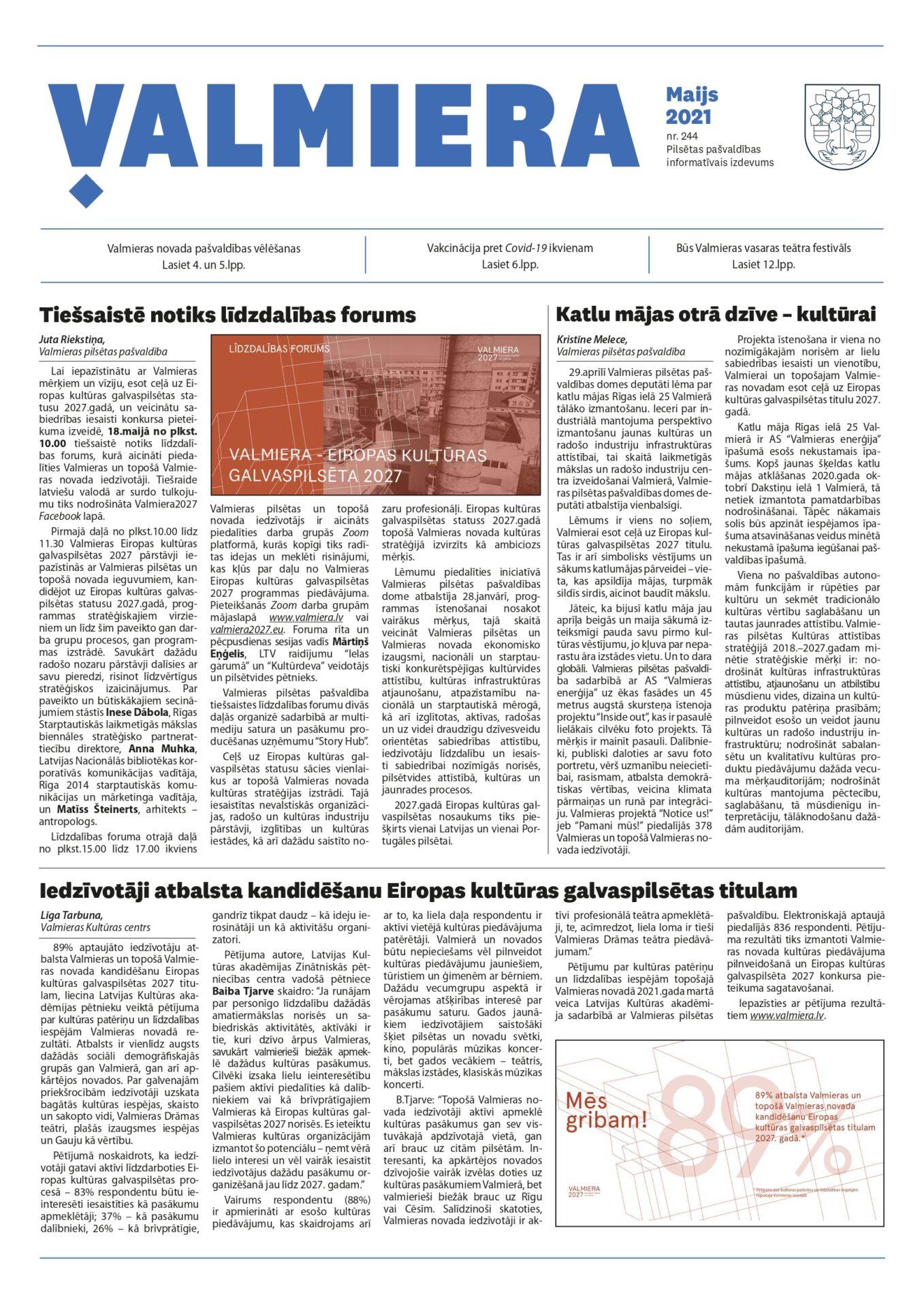 Valmieras pilsētas pašvaldības informatīvais izdevums maijs