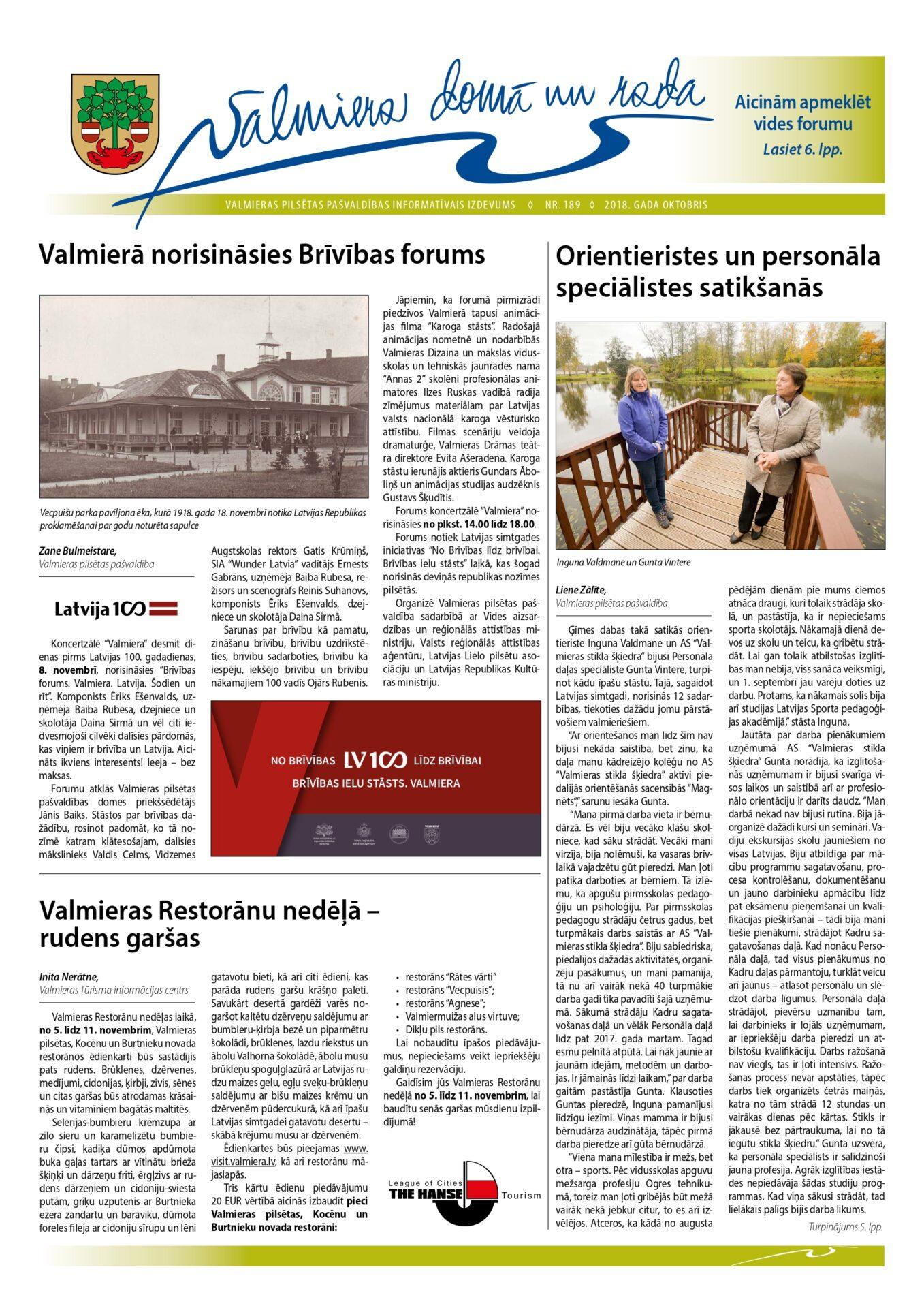 Valmieras pilsētas pašvaldības informatīvais izdevums Nr.189